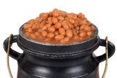 Macro baked beans in old pot — Stock Photo