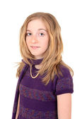 Portrait of a child with purple sweater and scarf — Stock Photo