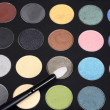 Macro eye shadow palette makeup with brush — Stock Photo #25937053