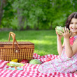 Little girl with large slice of watermelon — Stock Photo #26952909