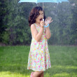 Young girl with umbrella in the rain — 图库照片