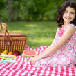 Little girl picnic — 图库照片