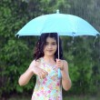 Little girl with umbrella in the rain — 图库照片