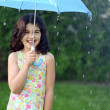Little girl in the rain — Stock Photo