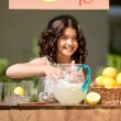 Little girl lemonade stand — Stock fotografie