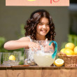 Little girl lemonade stand — Stock Photo