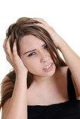 Kvinna med en migrän — Stockfoto