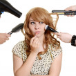 Stock Photo: Multi tasking teen girl makeover