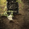 Stock Photo: Skeleton hand coming out of grave