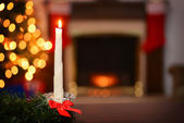 Bees wax christmas candle focus on candle — Stock Photo