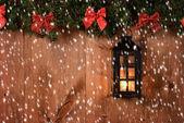 Christmas lantern with snow — Foto de Stock