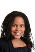 Portrait little black girl smiling — Stock Photo