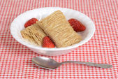 Shredded wheat with fruit in bowl — Stock Photo