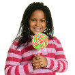 Stock Photo: Little black girl with big lollipop