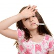Sick child with hand on forehead — Stock Photo