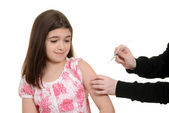 Scared child getting immunization injection — Stock Photo