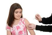 Scared child getting immunization injection — Stock Photo