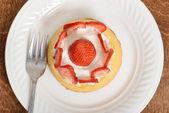 Top view strawberry shortcake — Stock Photo