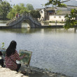 Постер, плакат: Hongcun bridge and artists