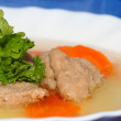 Czech liver dumplings soup — Stock Photo