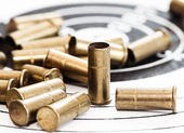 Empty shells of small-bore rifle — Stock Photo