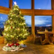 Christmas tree in modern home - Stock Photo