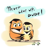 Never give up birds friends dude encourage — Stock Photo