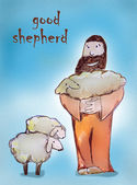 Shepherd saving his lost sheep — Stock Photo