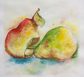Pair of pears watercolor — Stock Photo