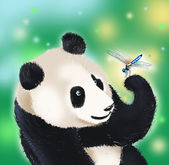 Panda bear and dragonfly — Stock Photo
