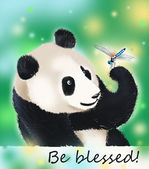 Panda bear and dragonfly blessing — Stock Photo