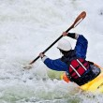 Active female kayaker — Stock Photo
