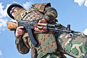 Soldier with ak-47 — Stock Photo