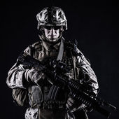 US marine studio shot on black background — Stock Photo