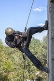 Tactical rappeling — Stock Photo