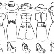 Vector illustration of drafts of women's clothing — Stock Vector #37852471