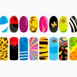 Stock Vector: Vector illustration of different nail designs