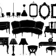Stock Vector: Vector illustration of silhouettes of different retro furniture