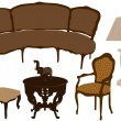 Vector illustration of silhouettes of different retro furniture — Stock Vector #37854219