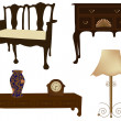 Vector illustration of silhouettes of different retro furniture — Stock Vector #37854257