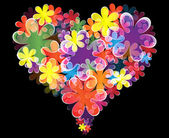 Vector illustration of floral heart on black background — Stock Vector