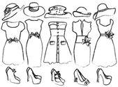 Vector illustration of drafts of women's clothing — Stock Vector