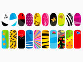 Vector illustration of different nail designs — Stock Vector