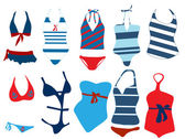 Vector illustration of different swimsuit — Stock Vector