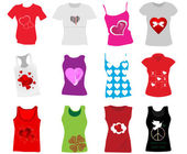 Vector illustration of different T-shirts for women — Stock Vector