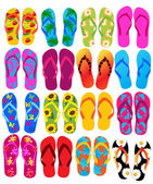 Vector illustration of different flip flops — Stock Vector