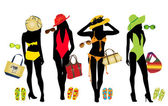 Vector illustration of woman fashion elements for beach — Stock Vector