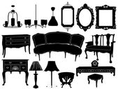 Vector illustration of silhouettes of different retro furniture — Stock Vector