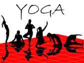 Vector illustration of different silhouettes of yoga — Vecteur