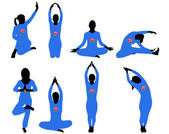 Vector illustration of different silhouettes of yoga — 图库矢量图片